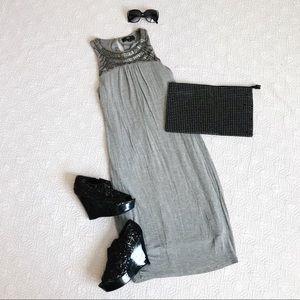Sleeveless Tube Midi Dress with Beaded collar